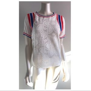 NWT Free People Crochet Floral Knit Lace T-Shirt
